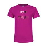 Youth Fuchsia T Shirt-Primary Mark  Foil