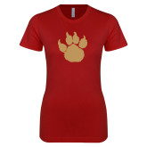 Next Level Ladies SoftStyle Junior Fitted Cardinal Tee-Paw Silhouette