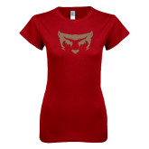 Next Level Ladies SoftStyle Junior Fitted Cardinal Tee-Bearcat Face