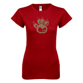 Next Level Ladies SoftStyle Junior Fitted Cardinal Tee-Paw