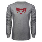 Grey Long Sleeve T Shirt-Bearcat Face