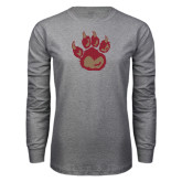 Grey Long Sleeve T Shirt-Paw