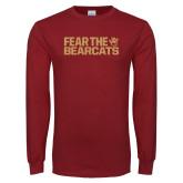 Cardinal Long Sleeve T Shirt-Fear the Bearcats