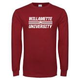 Cardinal Long Sleeve T Shirt-Stacked Willamette