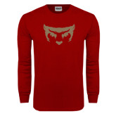 Cardinal Long Sleeve T Shirt-Bearcat Face