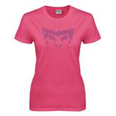 Ladies Fuchsia T Shirt-Bearcat Face