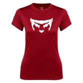 Ladies Syntrel Performance Cardinal Tee-Bearcat Face
