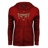 ENZA Ladies Cardinal Fleece Full Zip Hoodie-Bearcat Face