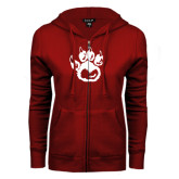 ENZA Ladies Cardinal Fleece Full Zip Hoodie-Paw