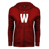 ENZA Ladies Cardinal Fleece Full Zip Hoodie-W