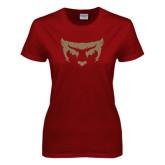Ladies Cardinal T Shirt-Bearcat Face