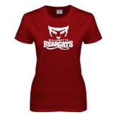 Ladies Cardinal T Shirt-Primary Logo Distressed