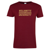 Ladies Cardinal T Shirt-Stacked Willamette