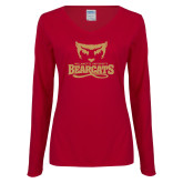 Ladies Cardinal Long Sleeve V Neck T Shirt-Primary Mark