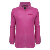 Ladies Fleece Full Zip Raspberry Jacket-Wordmark