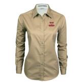 Ladies Khaki Twill Button Down Long Sleeve-Primary Logo