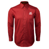 Cardinal Twill Button Down Long Sleeve-Primary Logo
