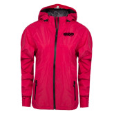 Ladies Dark Fuchsia Waterproof Jacket-Wordmark