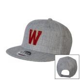 Heather Grey Wool Blend Flat Bill Snapback Hat-W