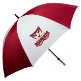 62 Inch Cardinal/White Umbrella-Primary Logo