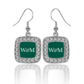 Crystal Studded Square Pendant Silver Dangle Earrings-W&M