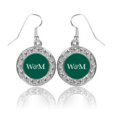 Crystal Studded Round Pendant Silver Dangle Earrings-W&M