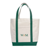 Contender White/Dark Green Canvas Tote-W&M