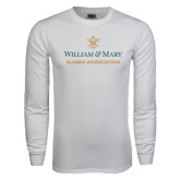 White Long Sleeve T Shirt-Alumni Association Stacked