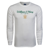 White Long Sleeve T Shirt-William & Mary Script Alumni