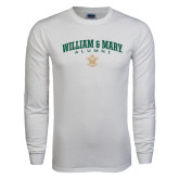 White Long Sleeve T Shirt-Arched Collegiate William & Mary Alumni
