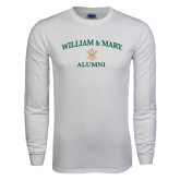 White Long Sleeve T Shirt-Arched Academic William & Mary Alumni
