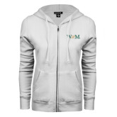 ENZA Ladies White Fleece Full Zip Hoodie-W&M