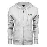 ENZA Ladies White Fleece Full Zip Hoodie-W&M