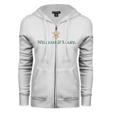 ENZA Ladies White Fleece Full Zip Hoodie-William and Mary