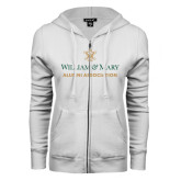 ENZA Ladies White Fleece Full Zip Hoodie-Alumni Association Stacked