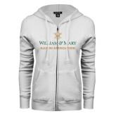 ENZA Ladies White Fleece Full Zip Hoodie-Alumni Association Stacked