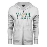 ENZA Ladies White Fleece Full Zip Hoodie-W&M Alumni