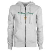 ENZA Ladies White Fleece Full Zip Hoodie-William & Mary Script Alumni