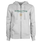 ENZA Ladies White Fleece Full Zip Hoodie-William & Mary Script Alumni