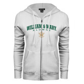 ENZA Ladies White Fleece Full Zip Hoodie-Arched Collegiate William & Mary Alumni