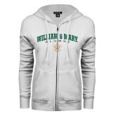 ENZA Ladies White Fleece Full Zip Hoodie-Arched Collegiate William & Mary Alumni