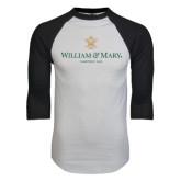 White/Black Raglan Baseball T-Shirt-Chartered Logo