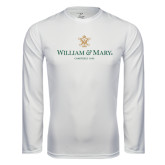 Performance White Longsleeve Shirt-Chartered Logo