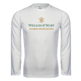 Performance White Longsleeve Shirt-Alumni Association Stacked