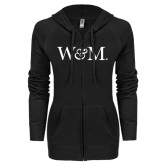 ENZA Ladies Black Light Weight Fleece Full Zip Hoodie-W&M