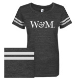 ENZA Ladies Black/White Vintage Triblend Football Tee-W&M