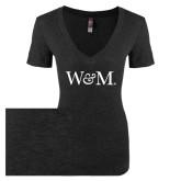 Next Level Ladies Vintage Black Tri Blend V-Neck Tee-W&M