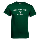 Dark Green T Shirt-Arched Academic William & Mary Alumni