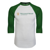 White/Dark Green Raglan Baseball T-Shirt-Alumni Association Flat