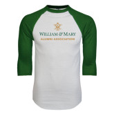 White/Dark Green Raglan Baseball T-Shirt-Alumni Association Stacked
